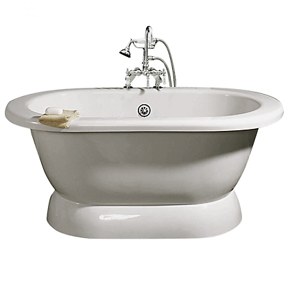Pedestal tub package with gooseneck faucet and hand shower