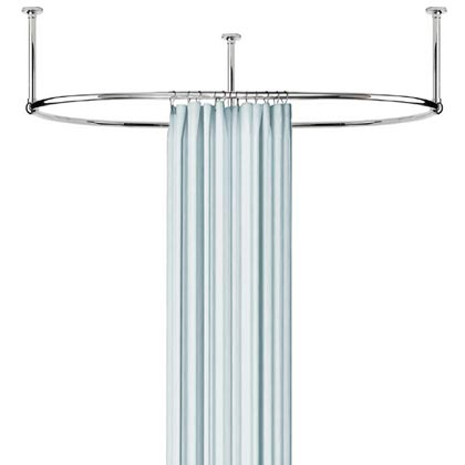 Magnetic Curtain Rod Holder Shower Curtains for Curved Tubs
