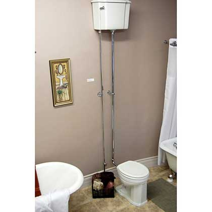 Old Fashioned Toilet With Wall Mounted Tank