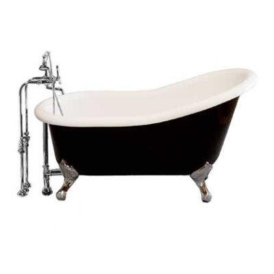 Tuxedo Slipper Tub package with chrome faucet and supplies with shutoff