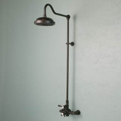 Oil Rubbed Bronze Curved Neck Thermostatic Shower Set