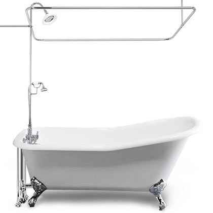 slipper claw tub with shower enclosure and faucet