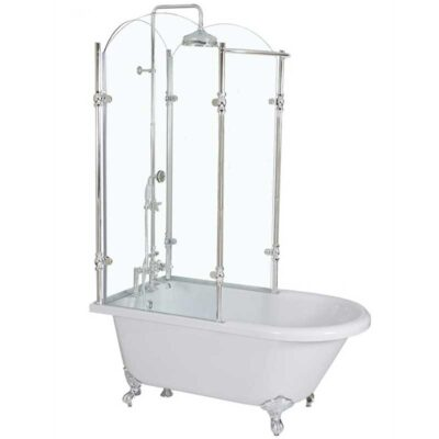 Clawfoot tub with glass shower enclosure