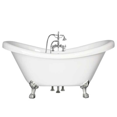 Double slipper tub with gooseneck faucet package