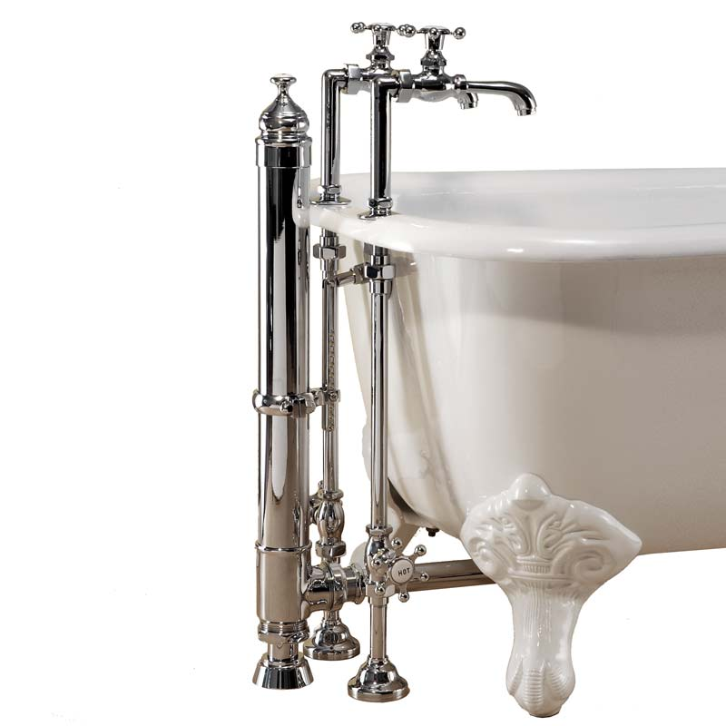 Vintage style tub filler and drain