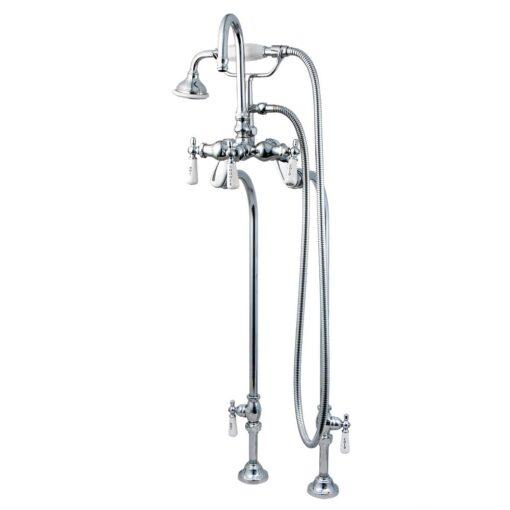Freestanding Gooseneck Tub Faucet - chrome