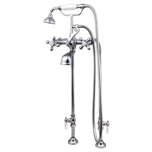 Chrome claw foot tub faucet and supplies