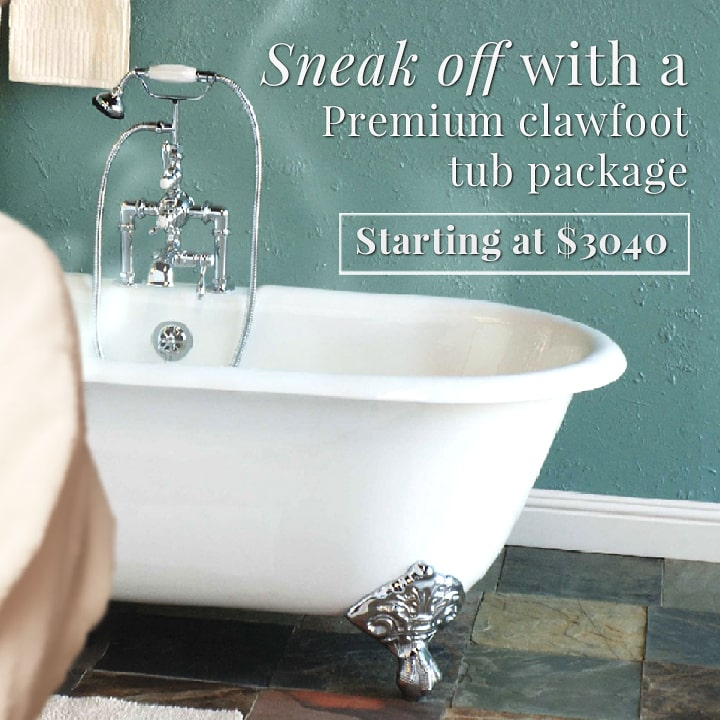 double ended clawfoot tub with thermostatic filler faucet